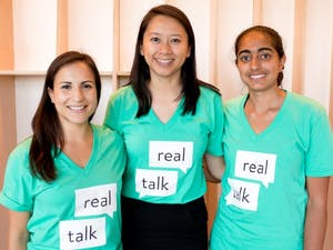 """Cristina Leos, Elizabeth Chen and Vichi Jagannathan have developed an app called """"Real Talk"""" targeted at middle schoolers with the hope to provide them with sex education. Photo courtesy of Elizabeth Chen."""