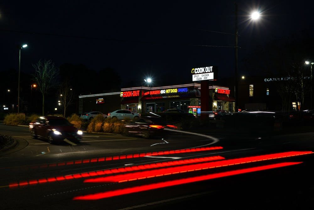Cookout in Durham during a nighttime rush on Tuesday, Jan. 26, 2021.