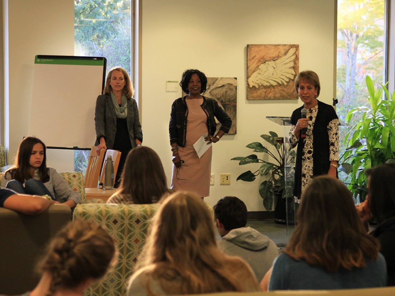 Chancellor Folt (right), Rumay Alexander (middle), and Christi Hurt (left) introduce the topic of sexual assault at Wednesday's Carolina Conversations event.