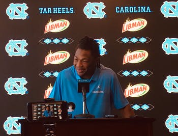 UNC senior defensive back Myles Dorn (1) speaks at the players availability conference on Tuesday, Sept. 24, 2019.