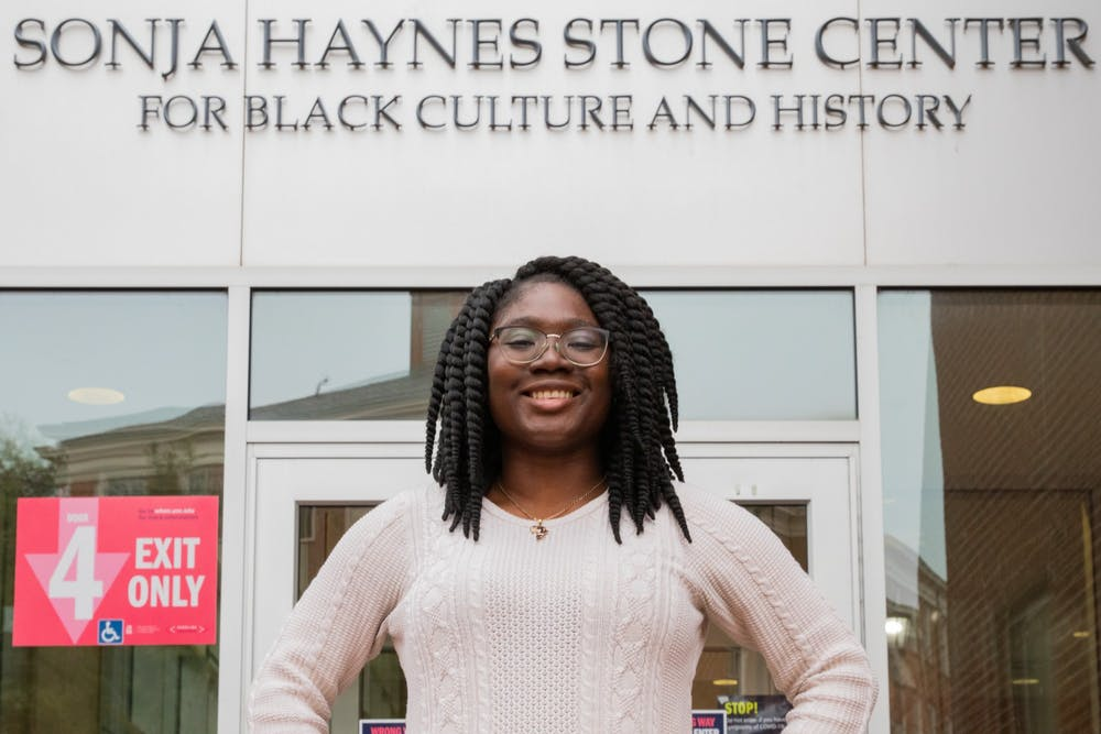 """Senior African Studies and Political Science major Mina Yakubu is the president of OASIS. """"It's been a community for me since the beginning of college,"""" Yakubu said of the organization."""
