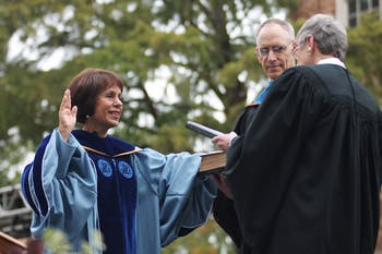 Chancellor Carol Folt takes the Chancellor' Oath at her installation as UNC's eleventh chancellor.