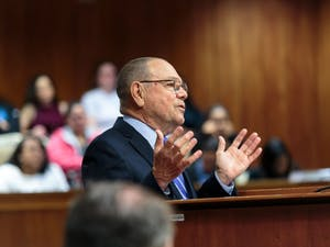 Lawyer Hugh Stevens presents the DTH's argument in court on Tuesday morning.