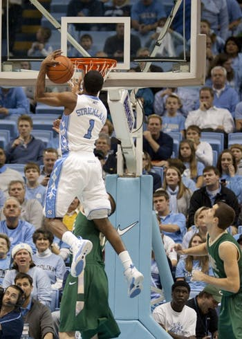 Dexter Strickland dunks over a William and Mary defender. Strickland led the Tar Heels with 19 points.