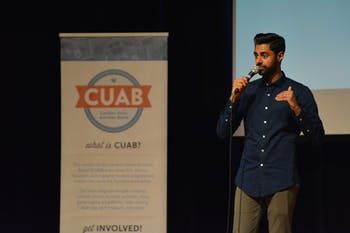 Hasan Minhaj of The Daily Show talks about the election results from the Muslim perspective on Saturday night in the Great Hall.The UNC Muslim Students Association worked with the Carolina Union Activities Board to hold the event.