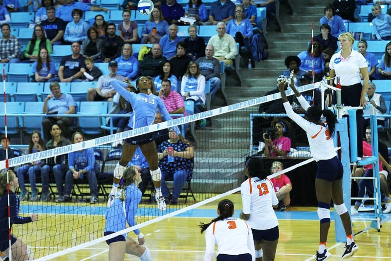 Taylor Leath elevates for a hit against Syracuse in October. Leath was named the ACC Player of the Year last season as a redshirt sophomore.