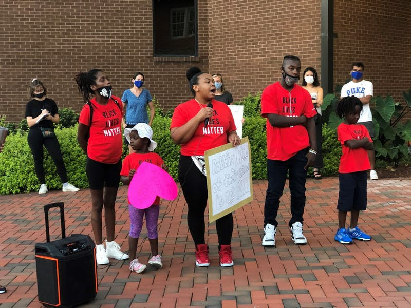 Ashley Harris speaks at a #RochelleBoysMatter protest and march in Durham Sept. 4, 2020. The protest was held after police allegedly drew their weapons on three boys playing in an east Durham apartment complex.