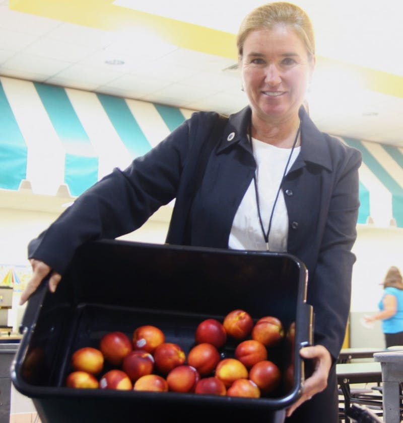 School counselor Kim Kelleher holds up a plastic tub of nectarines, which were handed out to each student at New Hope Elementary School on Wednesday. The school is the first in the county to receive government funds to provide its students with fresh produce daily.