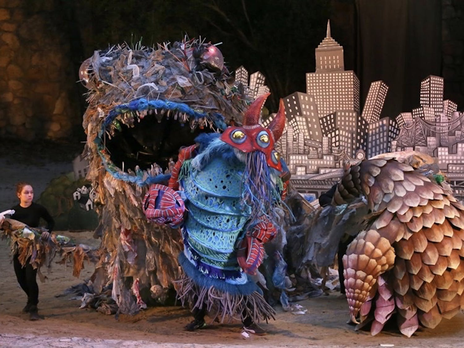 """The trash monster during a performance of """"We Are Here."""" Photo courtesy of Lee Capps."""