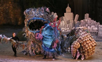 "The trash monster during a performance of ""We Are Here."" Photo courtesy of Lee Capps."