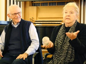 Alan and Marilyn Bergman, famous lyricists and UNC alumni, answer students' questions and share their experiences at a masterclass held Monday in Person Recital Hall.