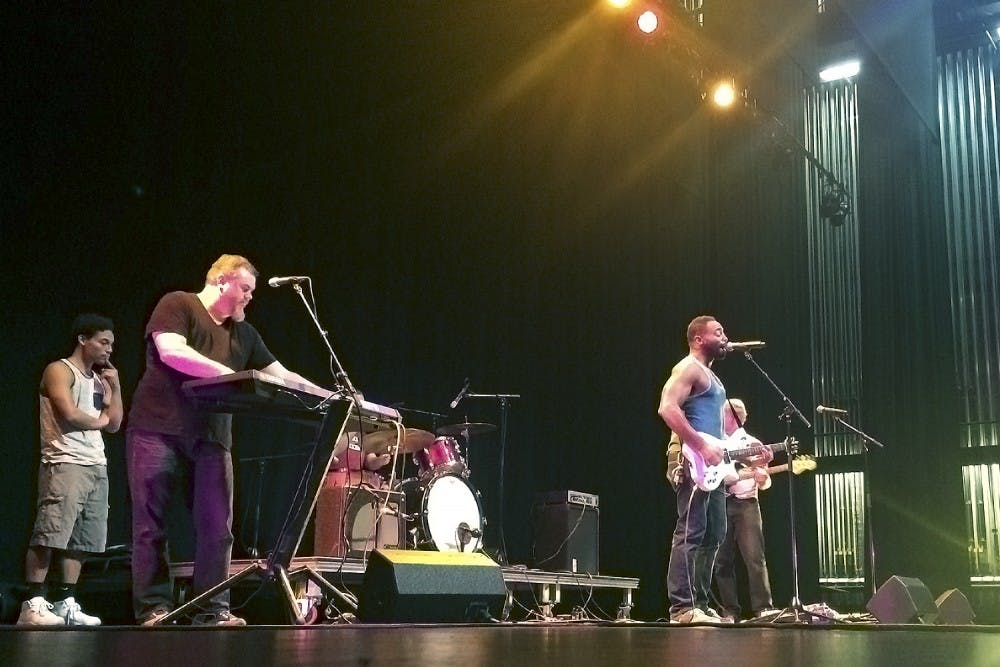 <p>Skinny Bag of Sugar, a Carrboro rock band, performs in Pulso Pulso, a performance celebrating Spanish and English cultures (Courtesy of Augusta DeKemper).</p>