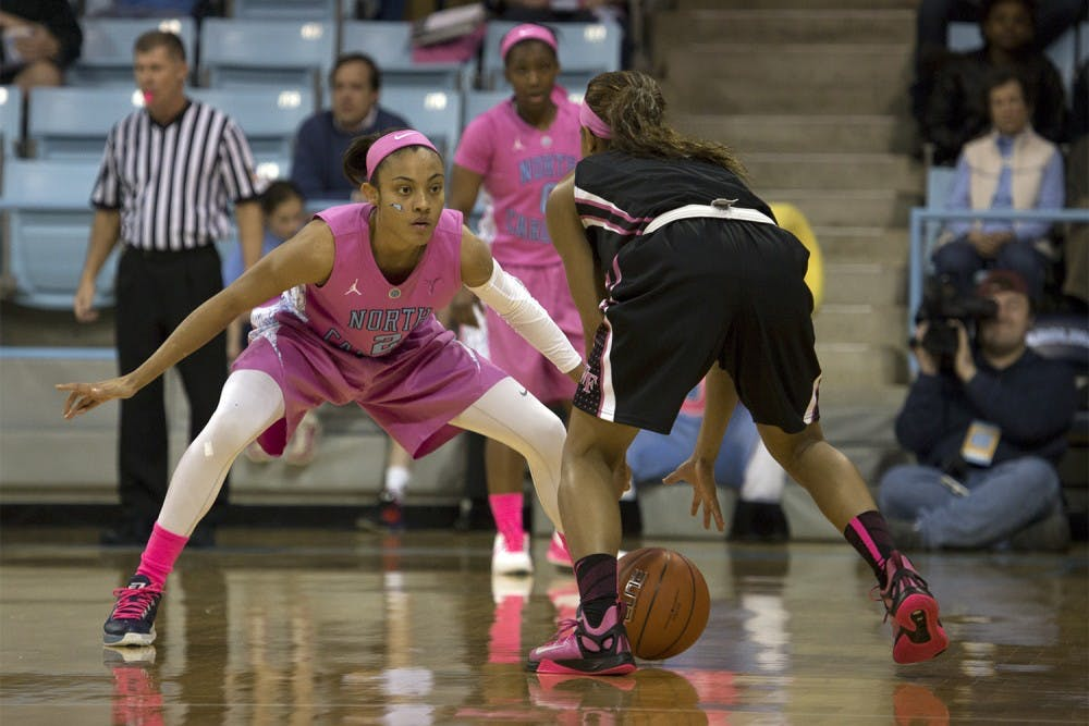 <p>UNC guard Latifah Coleman (2) marks a Wake Forest player. Coleman scored ten points during a game in 2015.</p>