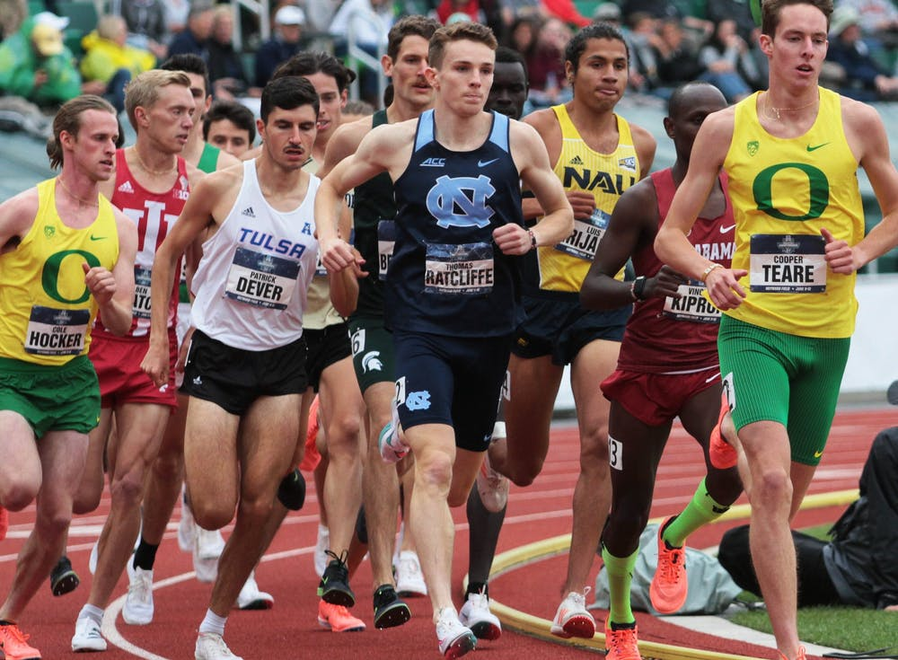 <p>Thomas Ratcliffe runs at the NCAA Track &amp; Field Championships at the Hayward Field in Eugene, OR on Friday, June 11, 2021. Photo courtesy of Rick Morgan/UNC Athletic Communications.&nbsp;</p>