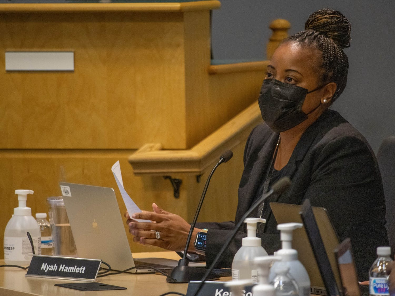 Nyah Hamlett, Ed.D., superintendent of Chapel Hill-Carrboro City Schools, pictured at the Board of Education's August 12 meeting.