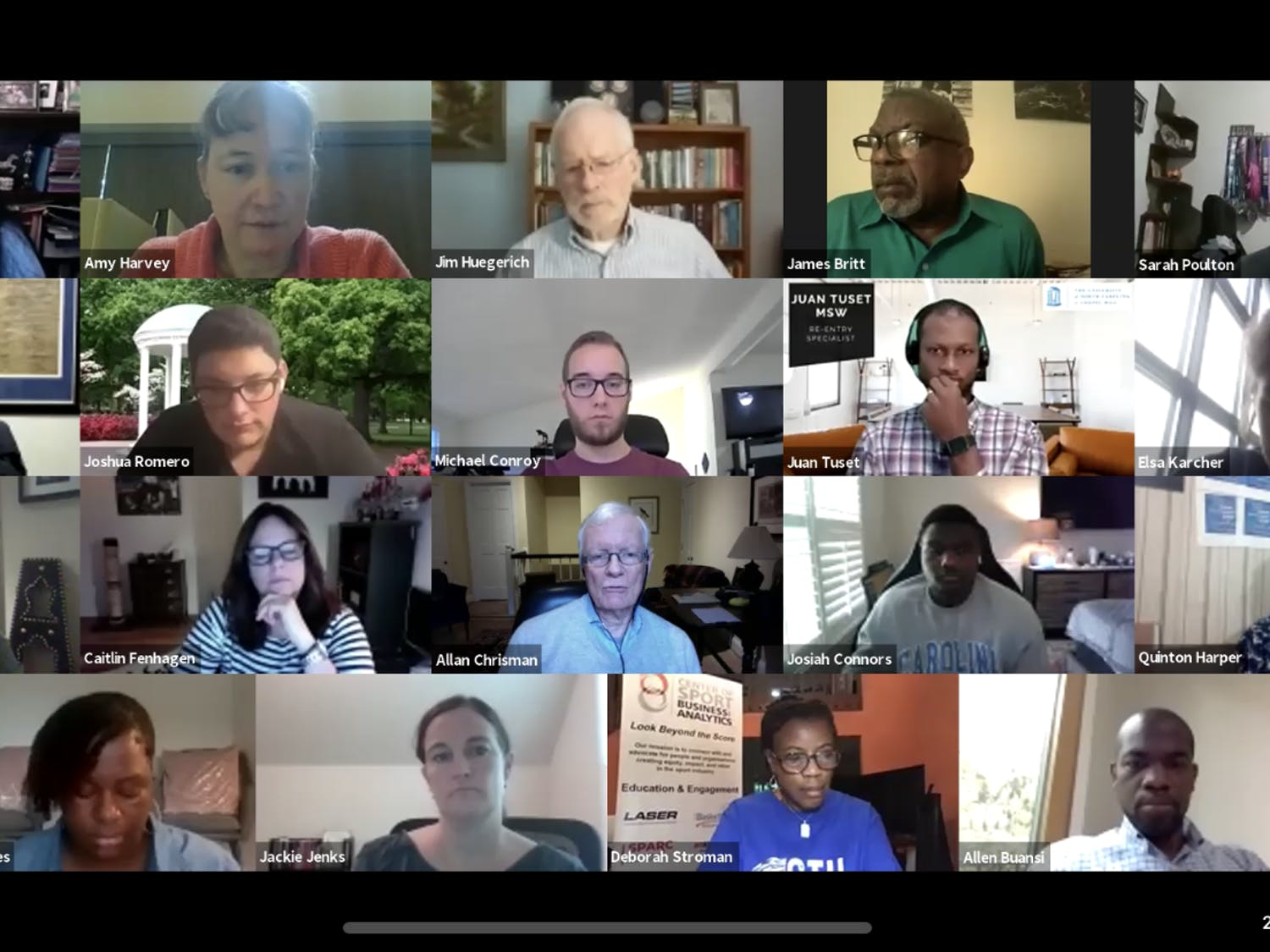 Screenshot from the virtually-held Community Policing Advisory Committee's roundtable.