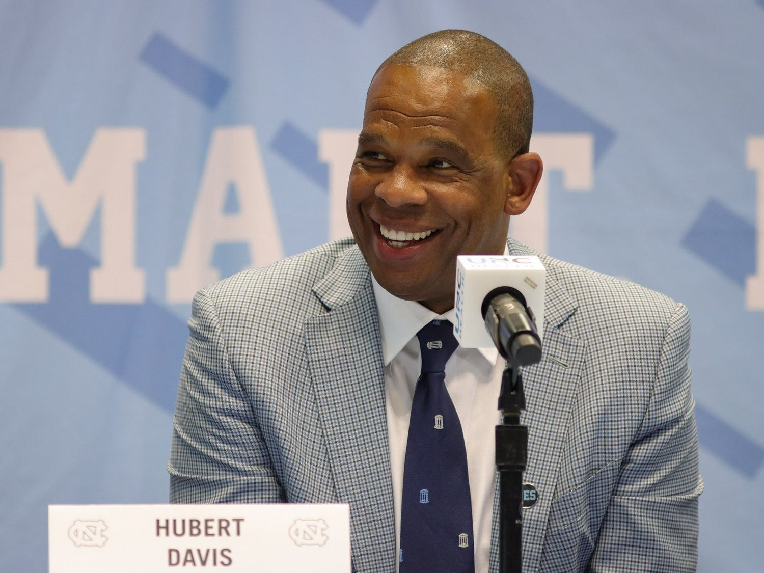 """Hubert Davis, the new head coach of UNC men's basketball, speaks at a press conference on Tuesday, April 6, 2021. """"North Carolina is the standard. There's nobody that has family, nobody that's an example of togetherness and family than here at North Carolina,"""" said Davis."""