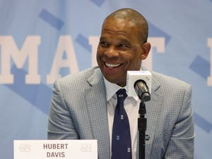 "Hubert Davis, the new head coach of UNC men's basketball, speaks at a press conference on Tuesday, April 6, 2021. ""North Carolina is the standard. There's nobody that has family, nobody that's an example of togetherness and family than here at North Carolina,"" said Davis."
