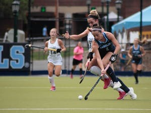 Forward Erin Matson (1) prepares to hit the ball on Sunday Sept. 15, 2019. UNC won 8-0 against William and Mary.
