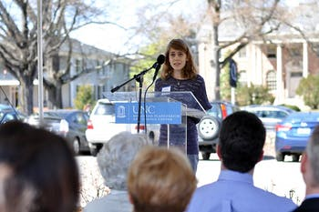Gabi Tesoro, 16, spoke on behalf of her grandfather Richard Knapp, former astronaut educator at the Morehead Planetarium, at the NC Highway Historical Marker Dedication Ceremony outside the Morehead Planetarium and Science Center on Wednesday.