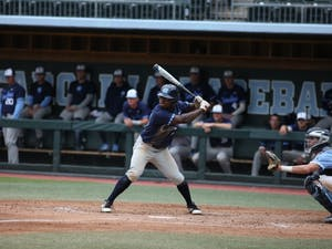 Outfielder Cameran Brantley (28) bats against the Blue team during an intrasquad Navy vs. Blue scrimmage Sunday Oct. 14, 2018 in Boshomer Stadium. The Blue team defeated the Navy team 6-2.