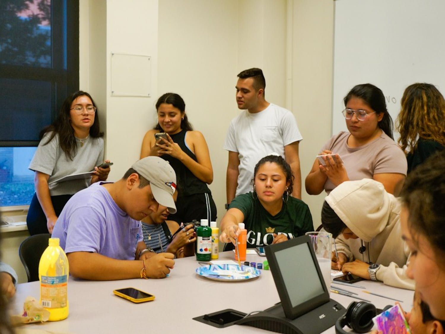"On Monday, Sept.23, 2019 at the Carolina Latinx Center, students participate in ""Paint My Latinidad"" by each painting a visual representation of their latinidad. This event was one of many hosted by the Carolina Latinx Center as a way to celebrate Latin Heritage Month and raise conversations about Latinx culture."