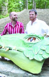 "Paperhand puppet intervention co-founders Jan Burger (left) and Donovan Zimmerman (right) handle the serpent of this summer's ""The Serpent's Egg"" performance. The final shows at the Forest Theater are Friday through Monday starting at 7pm."