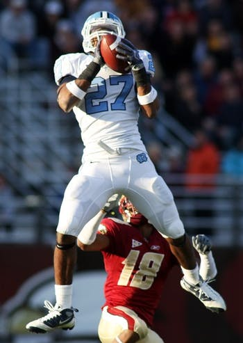 Junior safety Deunta Williams picks off one of three passes in UNC's victory.