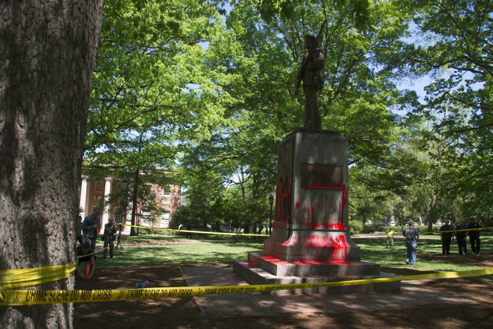 <p>Silent Sam, a Confederate monument on campus, was defaced with red paint on Monday, Apr. 30, 2018.</p>