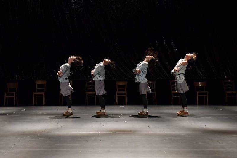 "Four dancers performing ""Rosas danst Rosas."" Photo courtesy of Anne Van Aershchot."