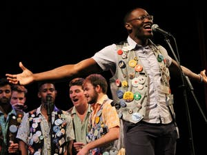 Sophomore Jordon Reynolds, undecided major and president of the Clef Hangers, belts out a solo at the UNC Clef Hangers Winter Jam Annual A Cappella Invitational on Friday, Jan. 25, 2019 at the Historic Playmakers Theatre.