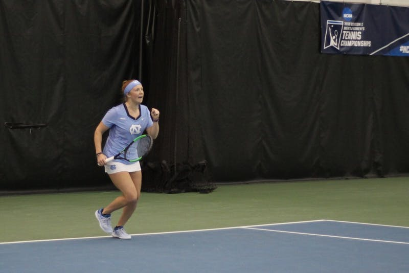 Junior Sara Daavettila wins the final singles point for the UNC women's tennis team against Virginia Commonwealth University on Jan. 26, 2019.