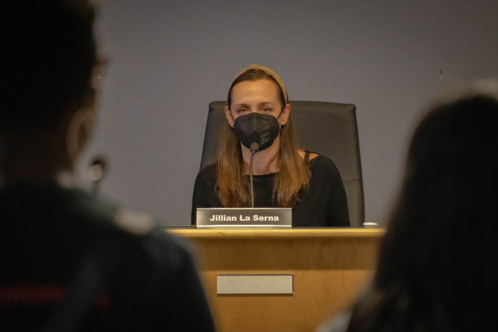 <p>Jillian La Serna, chairperson of the Chapel Hill-Carrboro City Schools Board of Education, yields public comments at the board's August 12 meeting.</p>