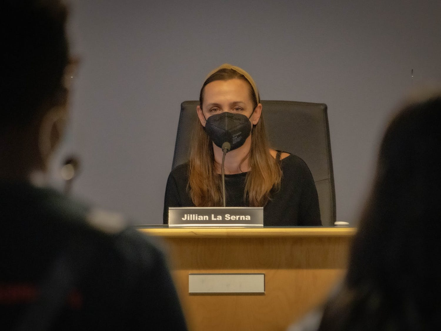 Jillian La Serna, chairperson of the Chapel Hill-Carrboro City Schools Board of Education, yields public comments at the board's August 12 meeting.