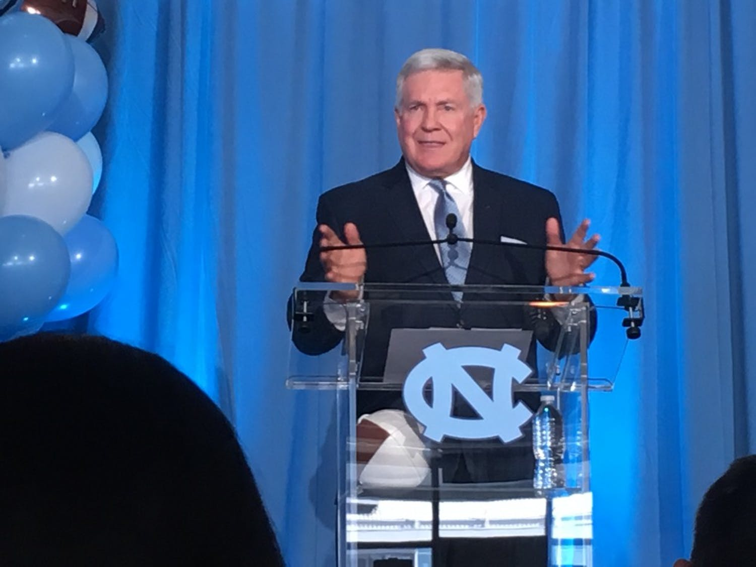 North Carolina football head coach Mack Brown speaks during his introductory press conference on Nov. 27, 2018.