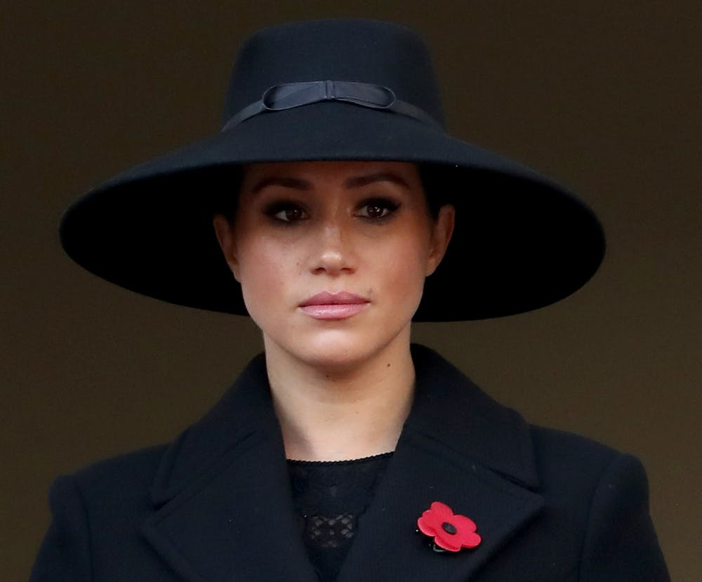 In this file photo, Meghan Markle, Duchess of Sussex attends the annual Remembrance Sunday memorial at The Cenotaph on Nov. 10, 2019 in London, England. Markle's friends in Hollywood are coming to her defense after bullying rumors surfaced. Photo courtesy of Chris Jackson/Getty Images/TNS