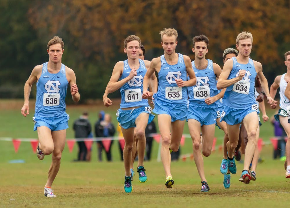 <p>The men's cross country team begins their 10k race at the NCAA Southeast Regional Championships at Winthrop University in Rock Hill, SC on Friday, Nov. 9 2018.</p>