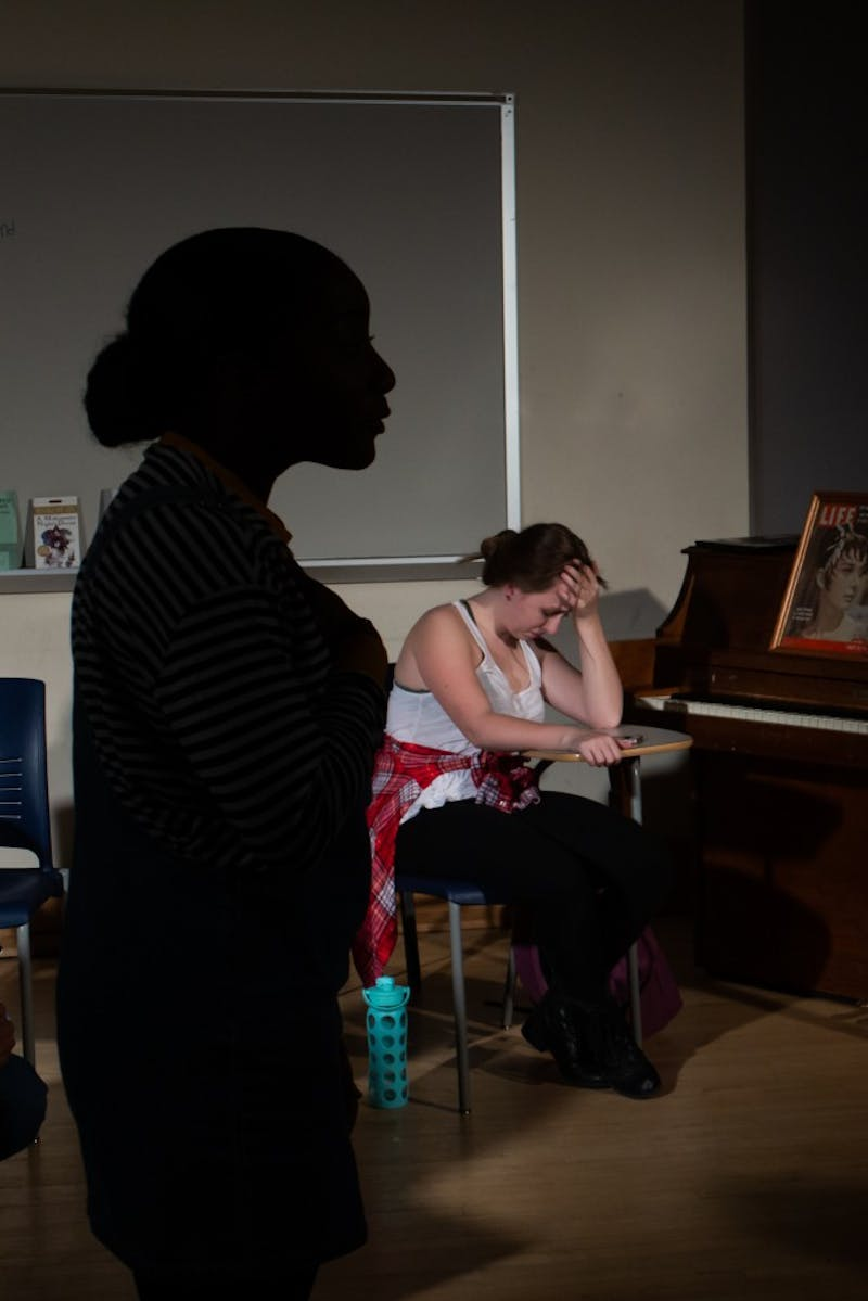 Aliese Cobb (left) and Lauren Toney (right) rehearse a scene for Lockdown by Gage Tarlton on Tuesday, March 19.