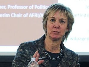 (L to R) Dr. Jonathan Hartlyn, Senior Associate Dean for Social Sciences; Dr. Karen Gil, Dean of the College of Arts and Sciences and Dr. Evelyne Huber, Professor of Political Science and Interm Chair of Afri/Afam department, meets with the Afam/Afri majors and professors to address the recent conflicts surrounding the departments, including the introduction of a new Dean for the department.