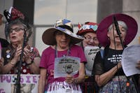 Ruth Zalph, 88, has resently been arrested four times for demonstrations in Washington D.C. and was almost unable to attend Thursday's Stop Kavanaugh protest because of her most recent arrest. Zalph is a part of a group named the Raging Grannies who sing songs for women's rights.