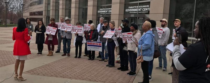 Charlotte City Workers Union organized a rally at City Hall on Monday, March 2, 2020. Speaking to the crowd is Dimple Ajmera, City Council member in support of Medicare for All, running for State Treasurer. Photo courtesy of Miranda Eltson.