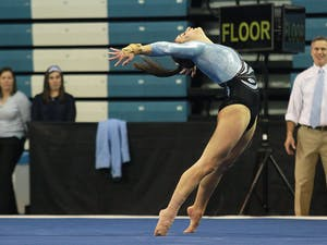 Junior Lexi Cappalli performs her floor routine at the meet against Auburn on Friday, January 9th.