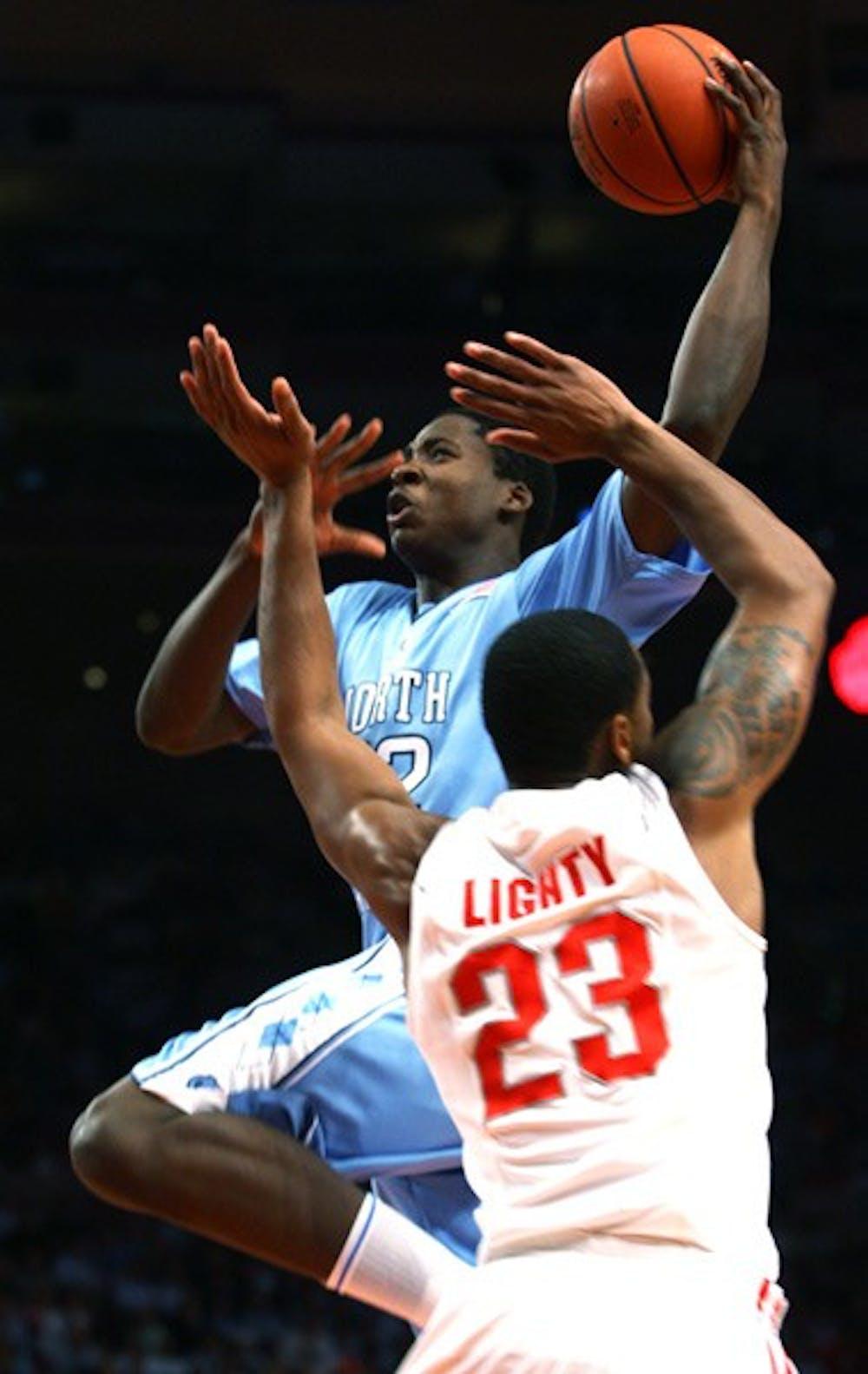 UNC's Ed Davis goes for a shot against Ohio State's David Lighty. DTH/Andrew Johnson