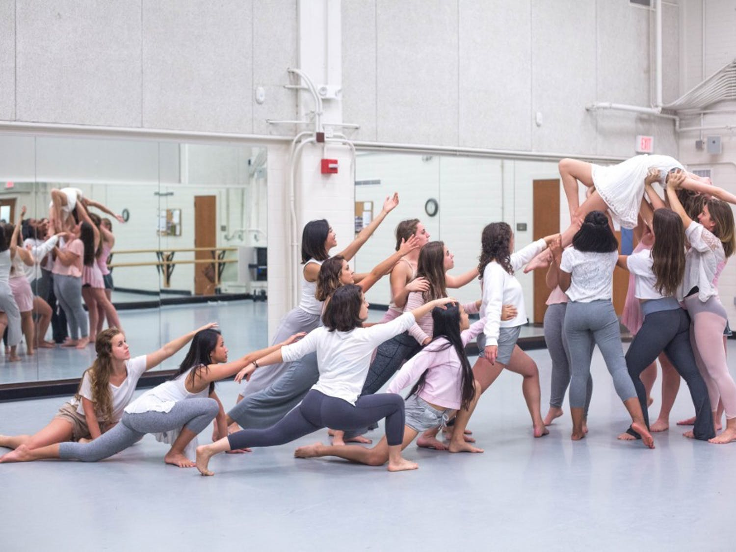 """Modernextionsion Dance Company practices improvisation at rehearsal for """"Disruption."""" Photo courtesy of Ryan Herron."""