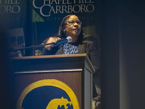 """Chapel Hill- Carrboro City Schools Superintendent Pamela Baldwin spoke Wednesday, April 10, at the State of the Schools address.  """"The disparity,"""" she said, """"between white and Asian students compared to black and brown students is significant."""""""