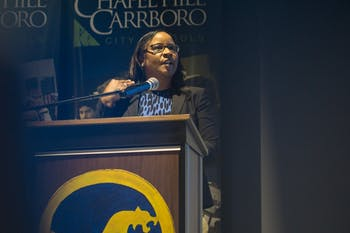 "Chapel Hill- Carrboro City Schools Superintendent Pamela Baldwin spoke Wednesday, April 10, at the State of the Schools address.  ""The disparity,"" she said, ""between white and Asian students compared to black and brown students is significant."""
