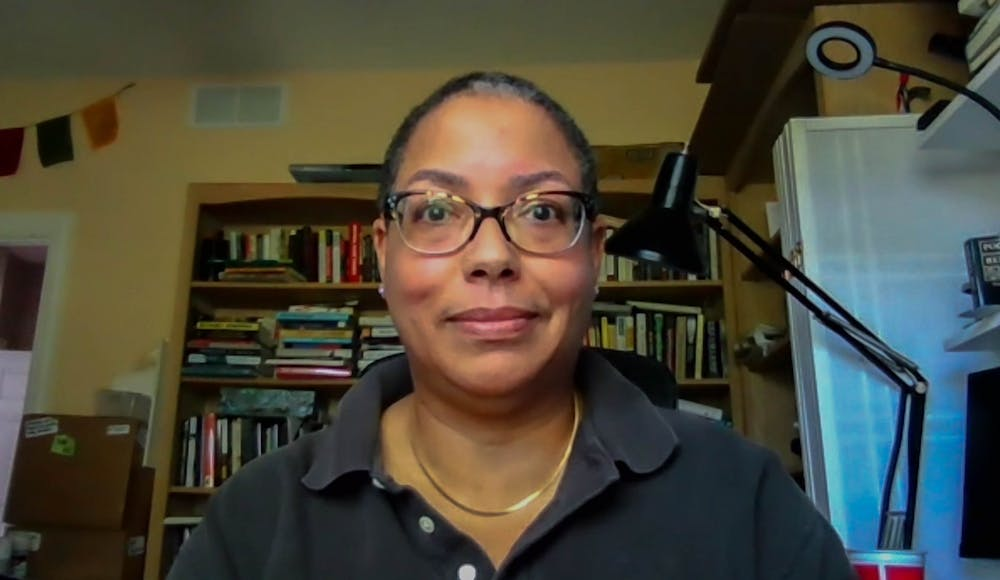<p>Jeannette Porter, alumna of the Hussman school, and Assistant Professor at the Missouri School of Journalism, poses for a virtual portrait in her office on Friday, June 4, 2021. Porter signed a letter created by Jeff Jarvis to protest against the action of the UNC Board of Trustees, in support of Nikole Hannah-Jones.</p>