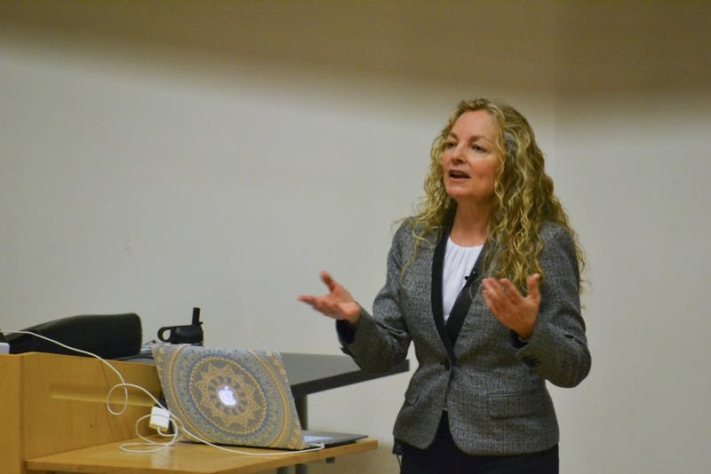 Susan Joy Hassol gives a keynote lecture on climate change in the Genome Sciences Building on April 17th.