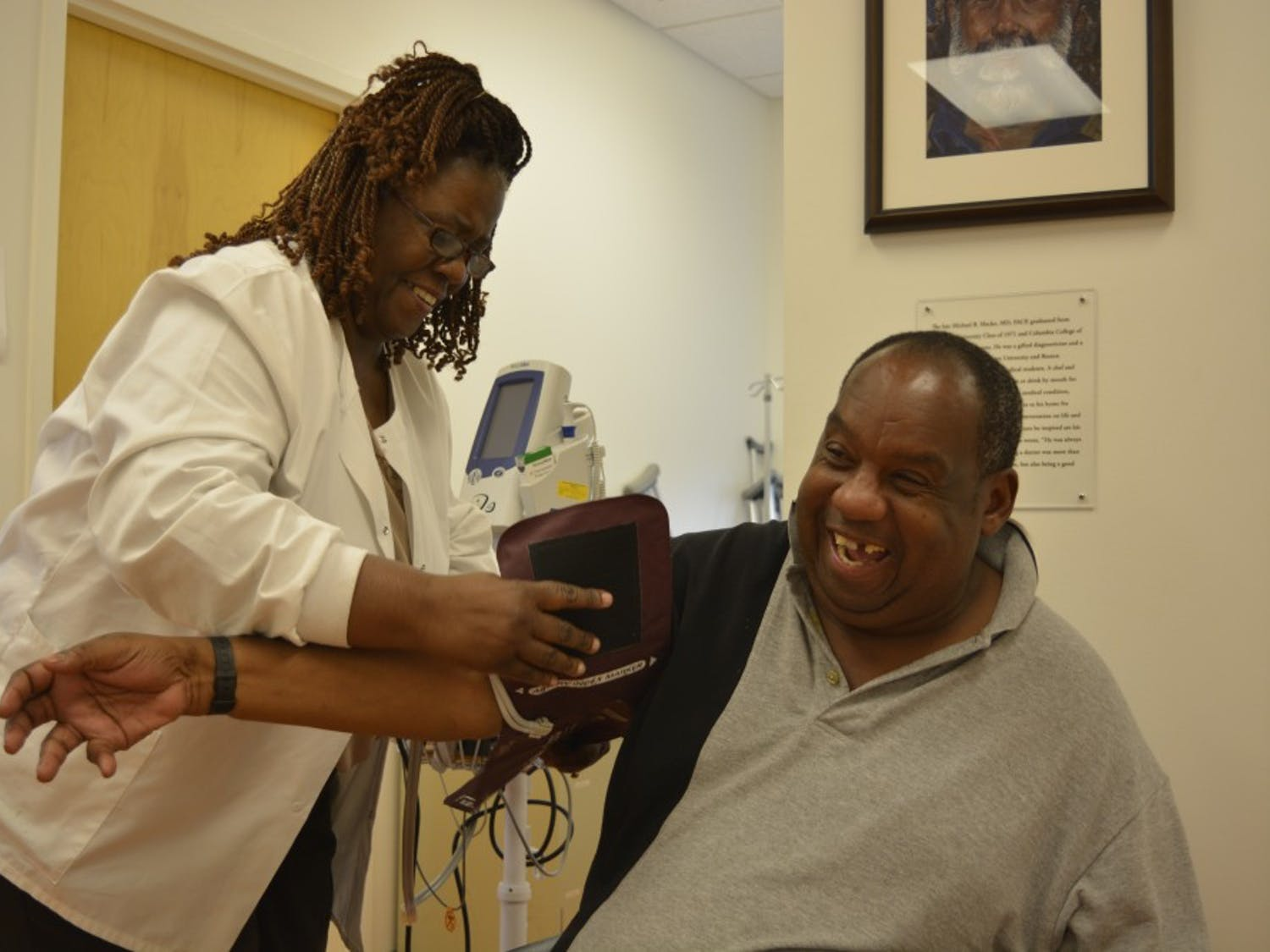 Eddie Caldwell has his blood pressure taken before an appointment at the Inter-Faith Council Community Health Center in Chapel Hill, NC, on Tuesday afternoon.