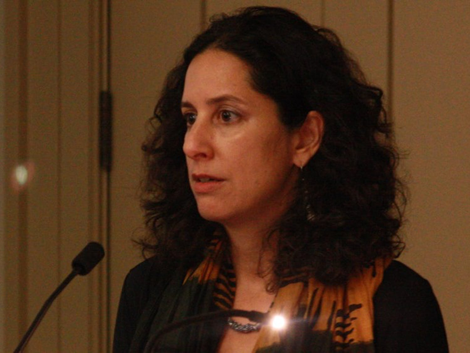 Nadje Al-Ali, Professor of Gender Studies and Chair of the Center for Gender Studies in the School of Oriental and African Studies at the University of London, gives her lecture on Tuesday evening. The lecture entitled, Iraqi Women: Between Dictatorship, Sanctions, War and Occupation was part of the Gender War and Culture Series sponsored by several UNC and Duke adademic departments.